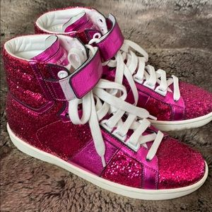 Saint Laurent Pink Glitter Sneakers YSL